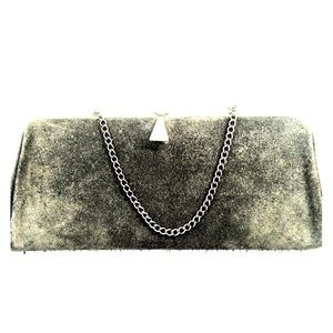 Olive Green Suede Leather Vintage Clutch Purse